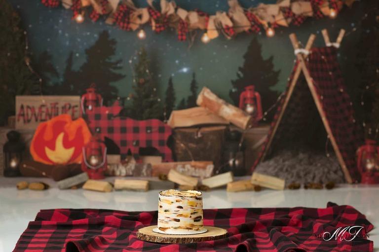 Edmonton cake smash photographer-camping theme